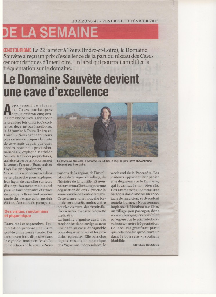 Article Horizon - Oenotourisme, label excellence. 13.02.2015